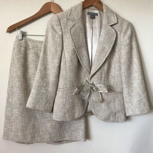 ANN TAYLOR linen cotton tweed skirt suit set